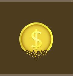 Cracked dollar coin vector