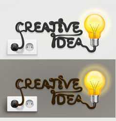creative lamp with cable outlet vector image