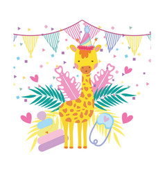 cute and little giraffe with party hat and garden vector image