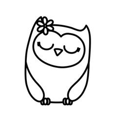 Cute animal owl female bird cartoon icon thick vector