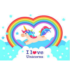 cute rainbow unicorn cartoon funny baby rainbow vector image
