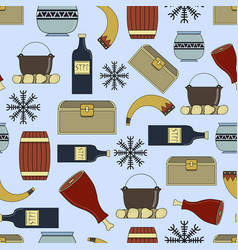 cute seamless pattern about vikings life vector image