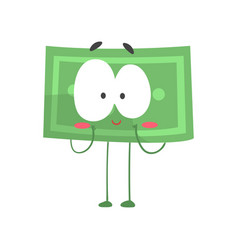 Cute shy dollar with legs arms and big eyes vector
