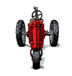 Drawing tractor stylized as engraving vector