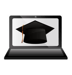 Elearning laptop with hat graduation vector