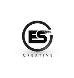 es brush letter logo design creative brushed vector image