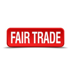 Fair trade red 3d square button isolated on white vector