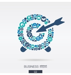 flat icons in a target shape business marketing vector image
