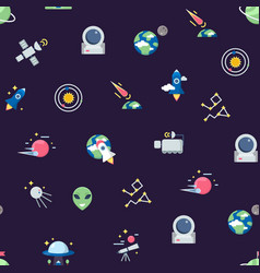 flat space icons pattern or background vector image