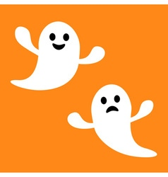 Funny flying ghost Smiling and sad face Happy vector
