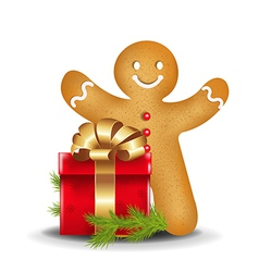 Gingerbread Man With Red Gift Box vector