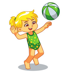 Girl playing beach volley ball vector