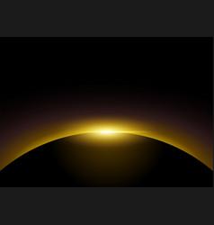golden light rising from dark background vector image