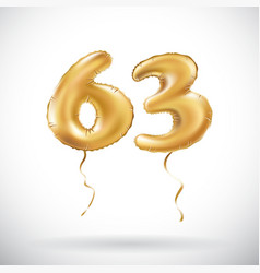 Golden number 63 sixty three metallic balloon vector