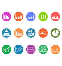 graph chart round button icons set vector image