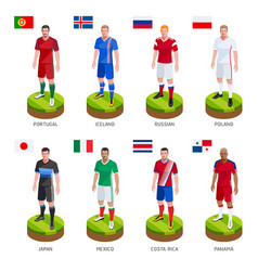 Group soccer football player jersey national world vector
