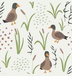Hand drawn seamless pattern with ducks and grass vector