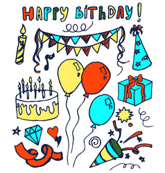 happy birthday hand drawn vector image