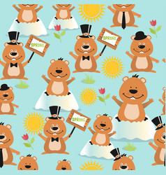 happy groundhog day design seamless pattern with vector image
