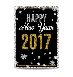 Happy new year 2017 greeting card golden text and vector