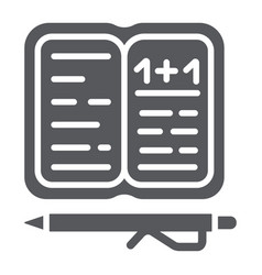 homework glyph icon paper and school notebook vector image