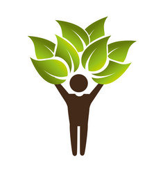 human figure with leafs plant ecology symbol vector image