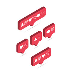 icon 3d like isometric media bubble with heart vector image