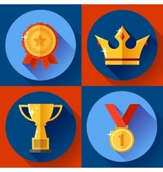 Icon set Golden victory symbols champion cup vector image