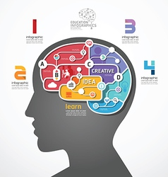 infographic Template brain social line link concep vector image