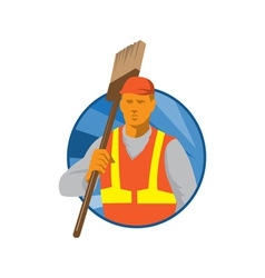 Janitor cleaner sweeper with broom retro vector