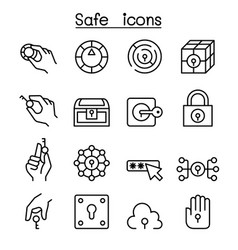 key and lock system icon set in thin line style vector image