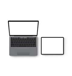 laptop and tablet computer mockup view from above vector image