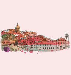 Lisbon cityscape skyline watercolor vector