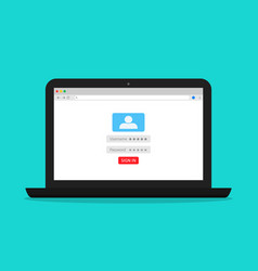 Login and password for register account in laptop vector