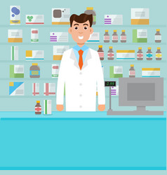 Man male pharmacist with shelves with medicines vector