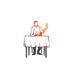 man restaurant table wine glass concept vector image