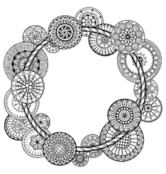 Mandala theme Floral wreath pattern with dots vector image