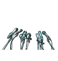 many microphones interview background vector image