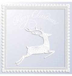 Merry Christmas white paper card with applique vector image