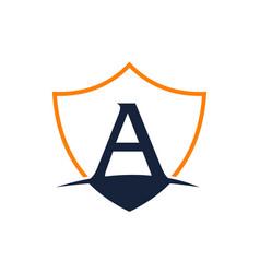 Modern shield letter aalphabet business capital vector
