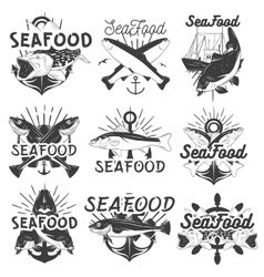 Monochrome set seafood emblems badges vector