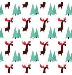 Moose animal flat pattern on white vector
