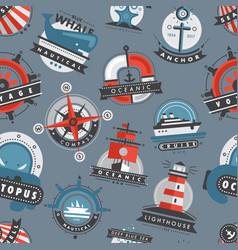 Nautical templates marine sea logo badges anchor vector