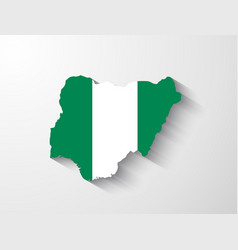 Nigeria map with shadow effect vector