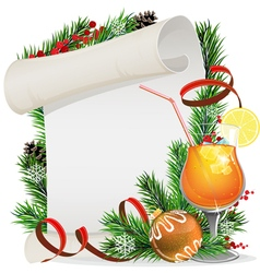 Orange cocktail Christmas wreath and paper scroll vector