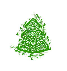 ornate fir tree vector image