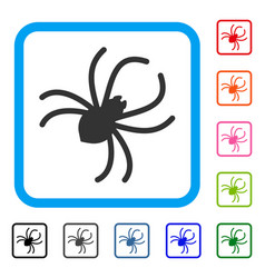 Parasite spider framed icon vector