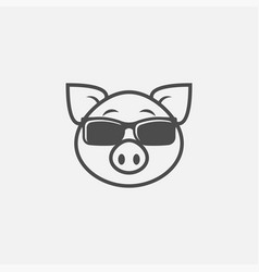 Pig in sunglasses icon isolated on white vector