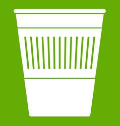plastic office waste bin icon green vector image