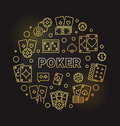 poker card game golden round linear vector image